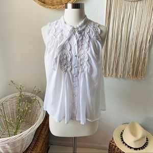 Free people embroidery sleeveless cotton top